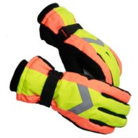 PU Leather Reflection Mitt Mitten Ski Gloves