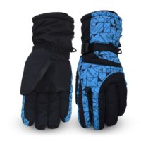 Winter printed waterproof five fingers men women ski gloves