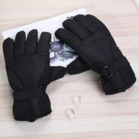 Winter Black Waterproof Thicken Fabric Ski Gloves